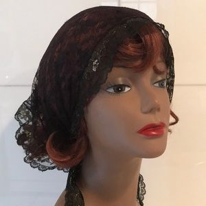Vintage Black Lace Headscarf/ Scarf with Gold Trim